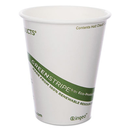 Eco-Products GreenStripe Renewable & Compostable Hot Cups - 8 oz., 50/PK, 20 PK/CT (ECOEPBHC8GS)