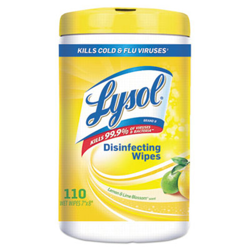 LYSOL Disinfecting Wipes, 7 x 8, White, Lemon And Lime Blossom Scent, 110/Canister (RAC78849EA)