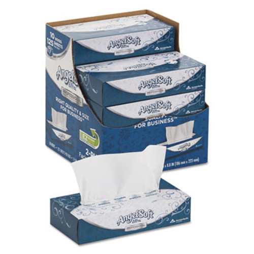 Angel Soft ps Ultra Facial Tissue, 2-Ply, White, 8 4/5 x 7 2/5, 125/Box, 10 Boxes/Carton (GPC4836014)