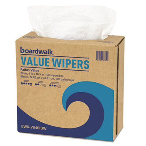 Boardwalk DRC Wipers, White, 9 x 16 1/2, 9 Dispensers of 100, 900/Carton (BWKV040IDW)