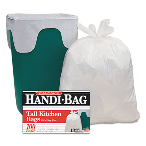 Handi-Bag Drawstring Kitchen Bags, 13 gal, 0.6 mil, 24 x 27 2/5, White, 50/BX, 6 BX/CT (WBIHAB6DK50CT)