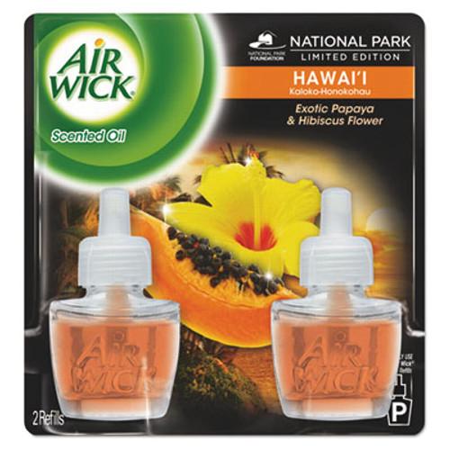 Air Wick Scented Oil Twin Refill, Hawai'i Exotic Papaya/Hibiscus Flower, 0.67oz, 6/Carton (RAC85175CT)