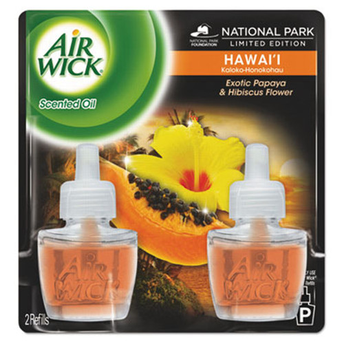 Air Wick Scented Oil Twin Refill, Hawaiian Tropical Sunset, 0.67oz Bottle, 6/Carton (RAC85175CT)
