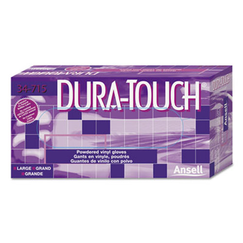 AnsellPro Dura-Touch PVC Powdered Gloves, Clear, Small, 100/Box (ANS34715S)