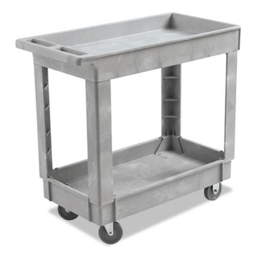 Boardwalk Utility Cart, Two-Shelf, 16w x 34d, Swivel Casters, Resin, Gray (BWK3416UCGRA)