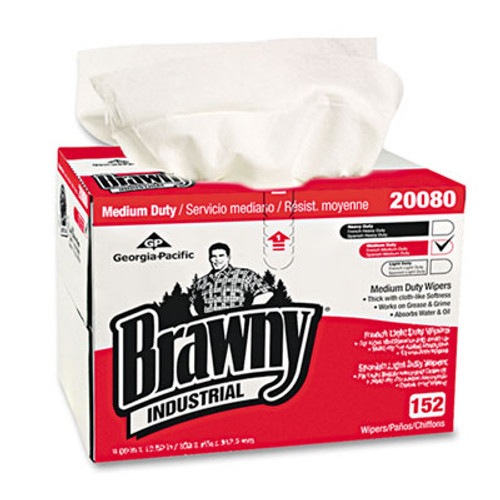 Georgia Pacific Brawny Industrial Premium DRC Wipes, Paper, 12-1/2 x 16-3/4, White, 152/Box (GPC2008003)