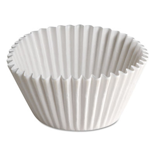 """Hoffmaster Fluted Bake Cups, 1 1/2"""" x 1/2"""" x 3 1/2"""", White, 500/Carton (HFMBL35065)"""