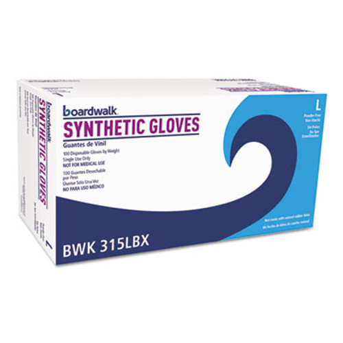 Boardwalk Powder-Free Synthetic Vinyl Gloves, Large, Cream, 4 mil, 1000/Carton (BWK315LCT)