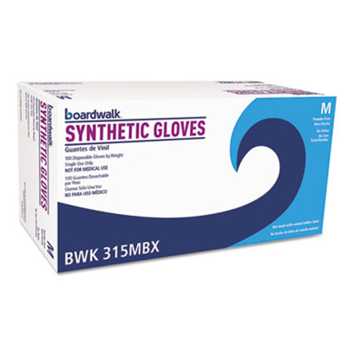 Boardwalk Powder-Free Synthetic Vinyl Gloves, Medium, Cream, 4 mil, 1000/Carton (BWK315MCT)