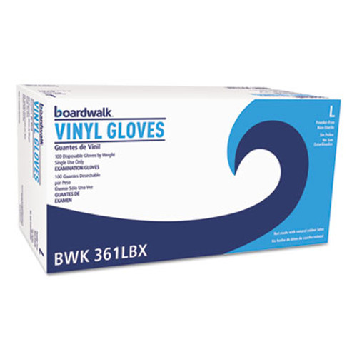 Boardwalk Exam Vinyl Gloves, Clear, Large, 3 3/5 mil, 1000/Carton (BWK361LCT)