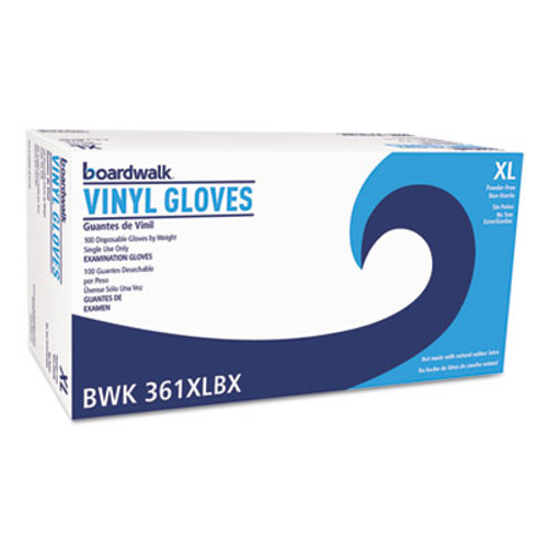 Boardwalk Exam Vinyl Gloves, Clear, X-Large, 3 3/5 mil, 1000/Carton (BWK361XLCT)