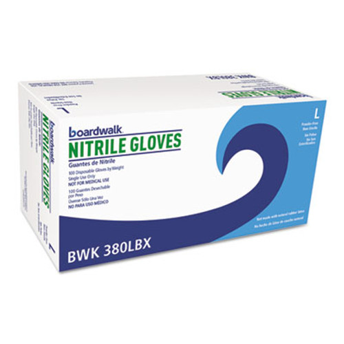 Boardwalk Disposable General-Purpose Nitrile Gloves, Large, Blue, 4 mil, 1000/Carton (BWK380LCT)