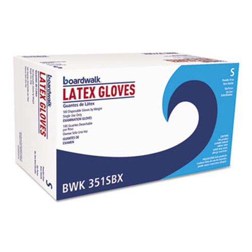 Boardwalk Powder-Free Latex Exam Gloves, Small, Natural, 4 4/5 mil, 100/Box (BWK351SBX)