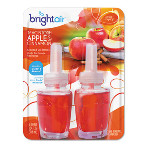 BRIGHT Air Electric Scented Oil Air Freshener Refill, Macintosh Apple/Cinnamon,2/PK, 6PK/CT (BRI900255)