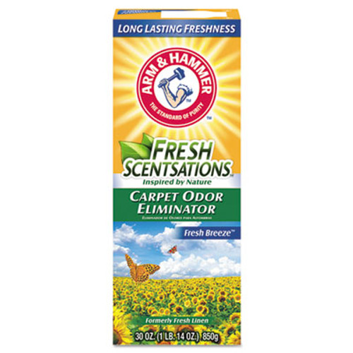 Arm & Hammer Fresh Scentsations Carpet Odor Eliminator, Fresh Breeze, 30 oz Box, 6/Carton (CDC3320011536)