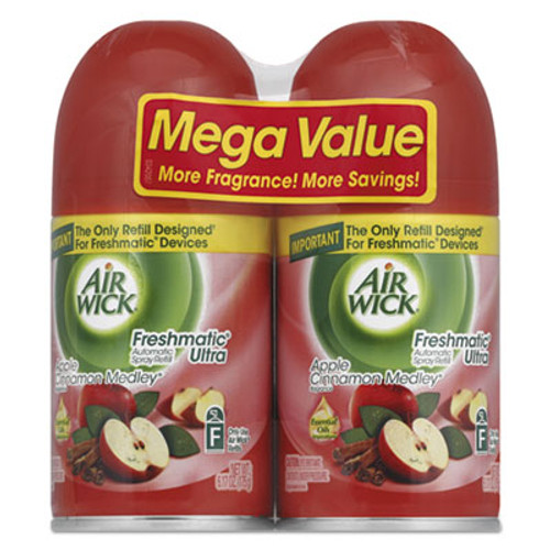 Air Wick Freshmatic Ultra Spray Refill, Apple Cinnamon Medley, Aerosol, 6.17 oz, 2/Pack (RAC82680PK)