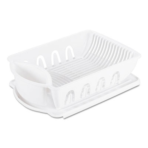 Office Settings 2-Piece Drain Rack Sink Set, White, Plastic, 14 5/8 x 21 x 3 1/2 (OSIDR02WH)