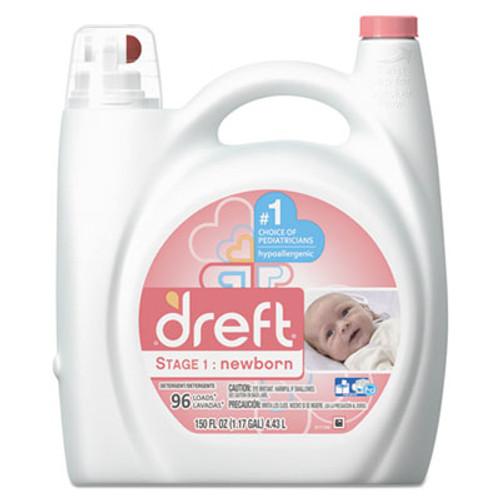 Dreft Ultra Laundry Detergent, Liquid, Baby Powder Scent, 150 oz Bottle, 4/Carton (PGC80377CT)
