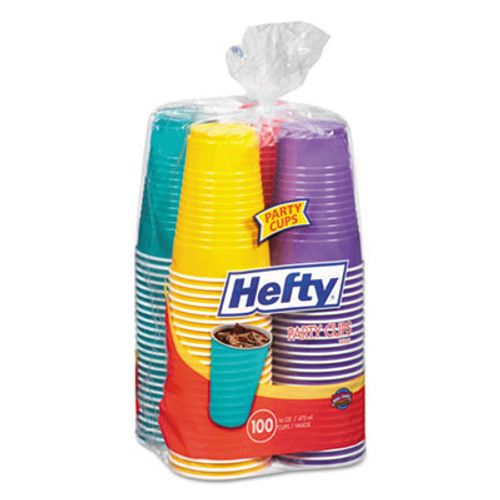 Hefty Easy Grip Disposable Plastic Party Cups, 16 oz, Assorted, 100/Pack, 4Pk/Carton (RFPC21637CT)