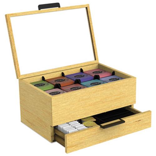 Mind Reader Tea Condiment and Accessory Organizer, Blonde Wood/Glass, 13 1/5x4 2/5x10 2/5 (EMSWTORGBRN)