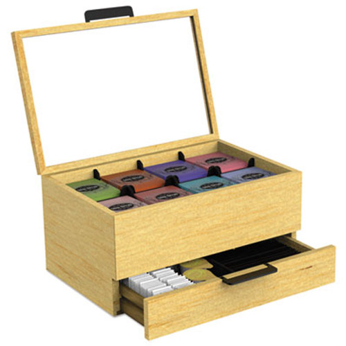 Mind Reader Tea Condiment and Accessory Organizer, Blonde Wood/Glass, 13 1/5x4 2/5x10 2/5 (EMSWTORGBRN)
