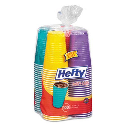 Hefty Easy Grip Disposable Plastic Party Cups, 16 oz, Assorted, 100/Pack (RFPC21637)