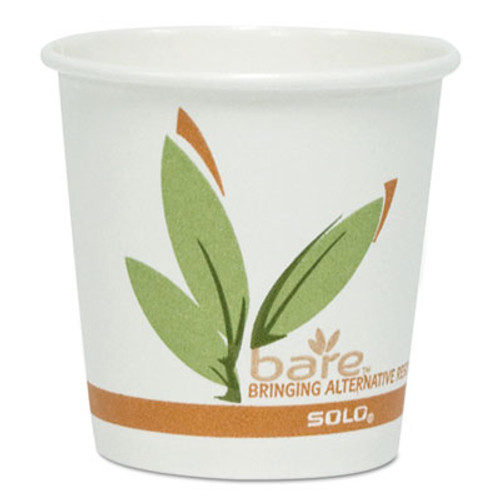 Dart Bare by Solo Eco-Forward Recycled Content PCF Paper Hot Cups, 4 oz, 1,000/Carton (SCC374RC)