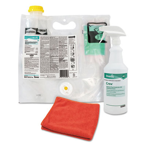 Diversey Crew Restroom Non-Acid Disinfectant Cleaner, Fresh, 0.12 L Smart Mix Pack (DVO100875413)