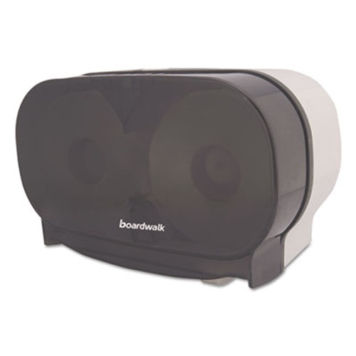 Boardwalk Twin Toilet Tissue Dispenser, Two Standard Rolls, Smoke Black,5 3/8x11 1/8x7 7/8 (BWKCT205SBBW)