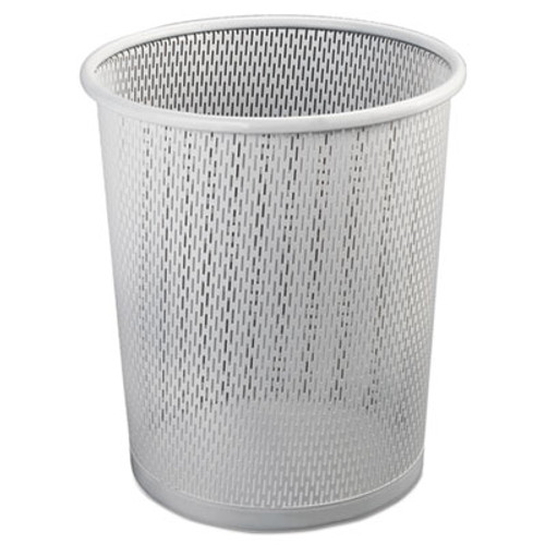 """Artistic Urban Collection Punched Metal Wastebin, 20.24 oz, Steel, White Satin, 9""""Dia (AOPART20017WH)"""