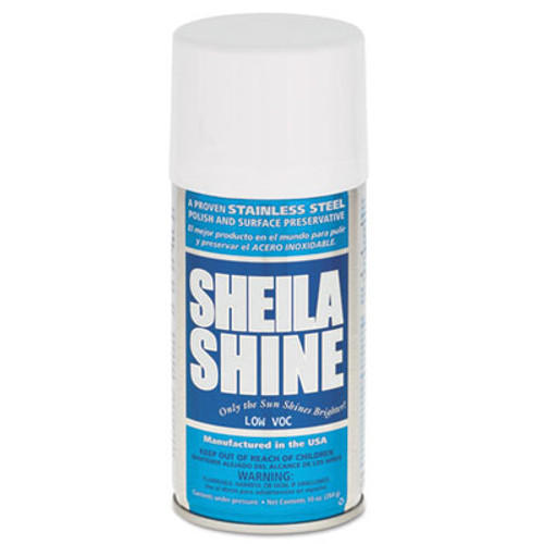 Sheila Shine Low Voc Stainless Steel Cleaner & Polish, 10 oz Can, 12/Carton (SSISSCA10)