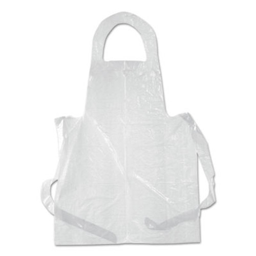 Boardwalk Poly Apron, White, 28 in. x 55 in., 1 mil., One Size Fits All, 100/Pack (BWKDAK2855)