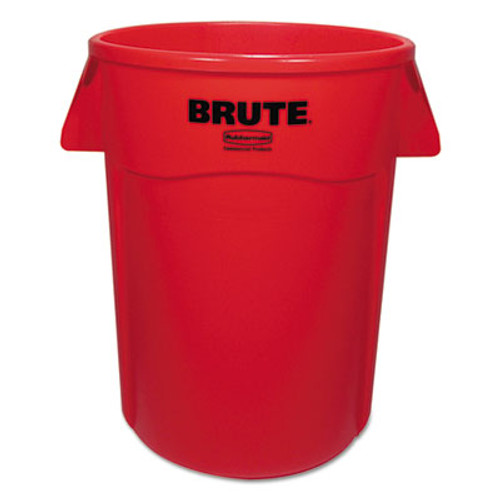 Rubbermaid Brute Vented Trash Receptacle, Round, 44 gal, Red, 4/Carton (RCP264360REDCT)