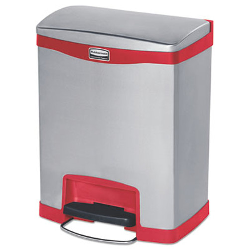 Rubbermaid Slim Jim Stainless Steel Step-On Container, Front Step Style, 8 gal, Red (RCP1901988)