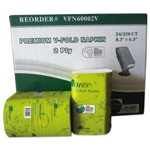 GEN Premium V-Fold Pop-Up Dispenser Napkin, Sugarcane Pulp,6.5x8.3,250/Pk, 24Pk/Ctn (GENVFN60002V)