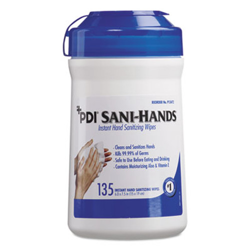Sani Professional Sani-Hands ALC Instant Hand Sanitizing Wipes, 7.5x6, White, 135/Canister,12/Ctn (NICP13472)