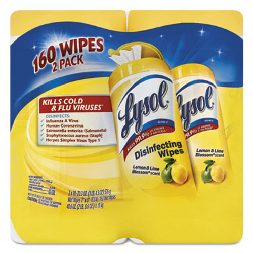 LYSOL Disinfecting Wipes, Lemon/Lime Blossom, 7 x 8, 80/Canister, 2/Pack (RAC80296PK)