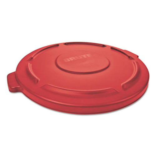 """Rubbermaid Flat Top Lid for 20-Gallon Round Brute Containers, 19 7/8"""" dia., Red, 6/Carton (RCP261960RED)"""