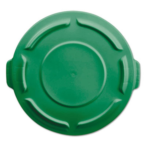 """Rubbermaid Vented Round Brute Lid f/20-Gl Round Brute Container,19 7/8""""dia, Dark Green,6/CT (RCP261960DGR)"""