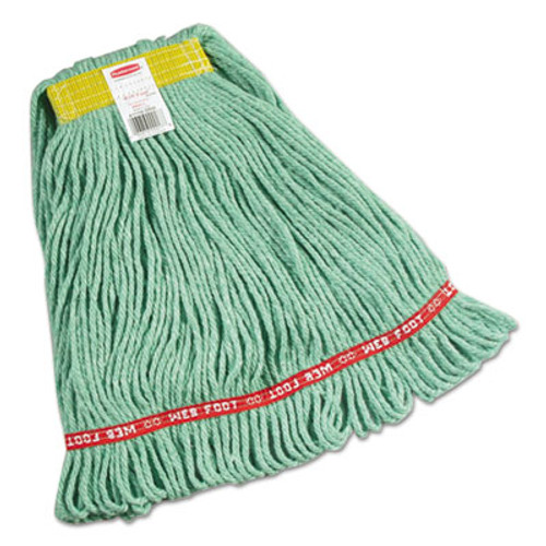 """Rubbermaid Commercial Web Foot Wet Mops, Cotton/Synthetic, Green, Small, 1""""Yellow Headband,6/Carton (RCPA111GRE)"""