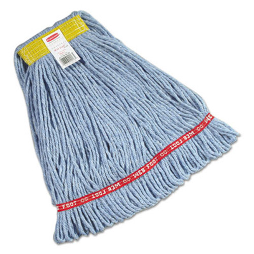 """Rubbermaid Commercial Web Foot Wet Mops, Cotton/Synthetic, Blue, Small, 1"""" Yellow Headband, 6/Carton (RCPA111BLU)"""