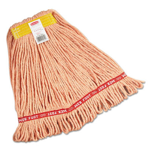 "Rubbermaid Commercial Web Foot Wet Mops, Cotton/Synthetic, Orange, Small, 1""Yellow Headband,6/Carton (RCPA111ORA)"