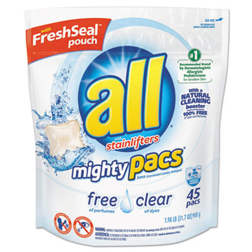 All Mighty Pacs Free and Clear Super Concentrated Laundry Detergent, 45/Pack (SNP197005381)
