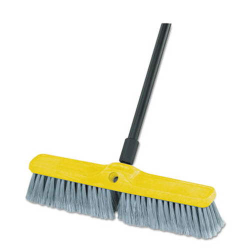 "Rubbermaid Fine Floor Sweeper, Polypropylene Fill, 18"" Brush, 3"" Bristles, Gray, 12/Carton (RCP9B00GRACT)"