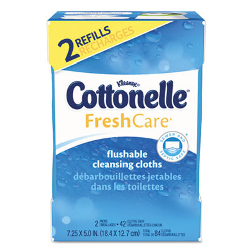Cottonelle Fresh Care Flushable Cleansing Cloths, White, 3.73 x 5.5, 84/Pack, 8 Pk/Ctn (KCC35970CT)