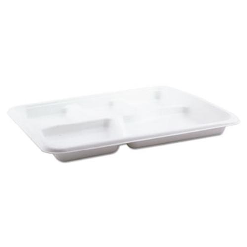 Pactiv Molded Fiber Food Tray, White, 10 1/2x8 1/2, 5-Compartment, 125/Pack, 4 Pk/Ctn (PCTMC58000S)