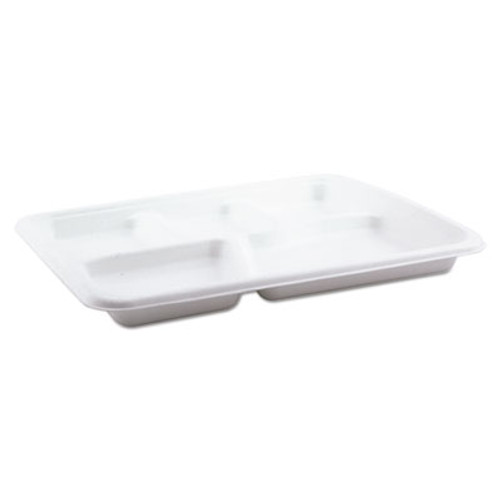 Pactiv Molded Fiber Food Tray, White, 10 1/2x8 1/2, 5-Compartment, 125/Pack, 4 Pk/Ctn (PCTMC58000S)