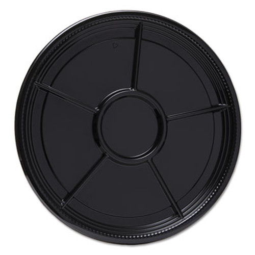 "WN Caterline Casuals Thermoformed Platters, PET, Black, 16"" Diameter, 25/Carton (WNAA526BL)"