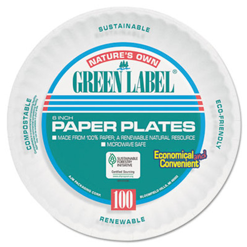 AJM Packaging Corporation Uncoated Paper Plates, 6 Inches, White, Round, 1000/Carton (AJMPP6AJKWH)