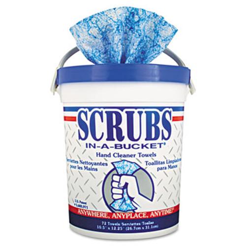 SCRUBS Hand Cleaner Towels, Cloth, 10 x 12, Blue/White, 72/Bucket (ITW42272EA)